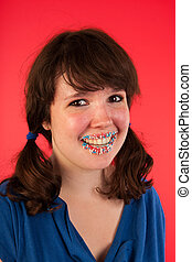 Young girl with candy lips
