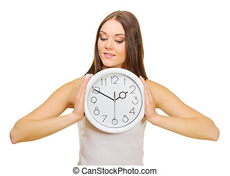 Young girl with clock