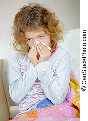 young girl with cold