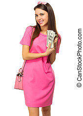 Young girl with dollars
