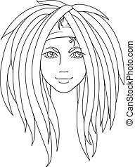 Young girl with dreadlocks. Picture for coloring. - Young...