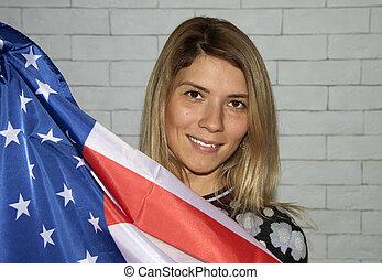 young girl with flag of usa