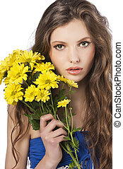 young girl with flower