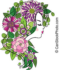 Elegant line art of a beautiful girl with colorful flowers in her hair
