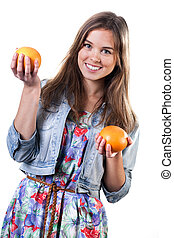 Young girl with fruits