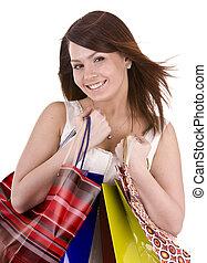 Young girl with gift bag.