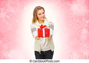 Young girl with gift box