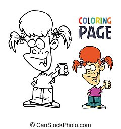 young girl with glass cartoon coloring page