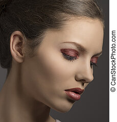 young girl with glossy make-up