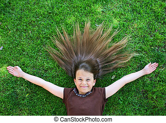 Young Girl With Hair Spread Out