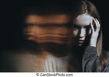 Young girl with hallucinations