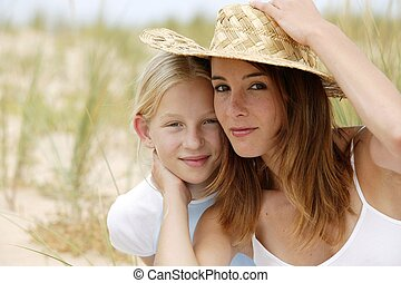 Young girl with her mother
