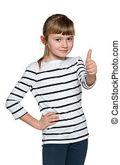 Young girl with her thumb up