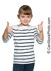 Young girl with her thumbs up