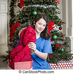 Young Girl with Holiday Gift Jacket