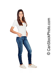 Young girl with jeans standing