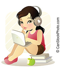 Vector illustration of a young girl with laptop