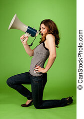 Young girl with megaphone