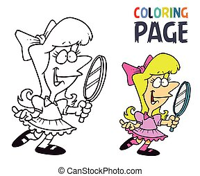 young girl with mirror cartoon coloring page