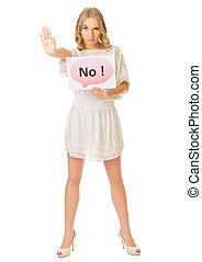 """Young girl with """"No"""" banner"""