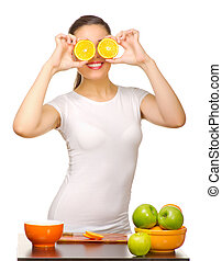 Young girl with orange slices
