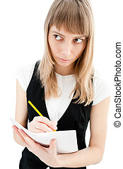 young girl with paper and pencil
