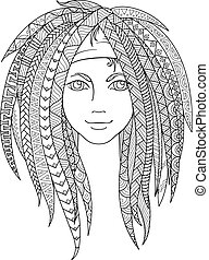 Young girl with patterned zentangle dreadlocks. Ornate...