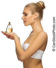 Young girl with perfume