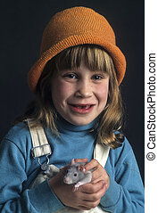 Young girl with pet rat