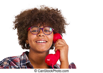 young girl with phone
