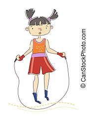 Young girl with pigtails skipping over a rope as she warms up for her workout in a health, sport and fitness concept