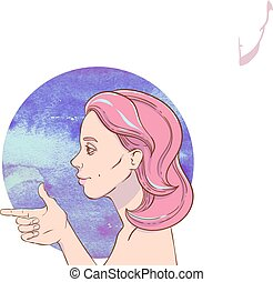 Young girl with pink hair