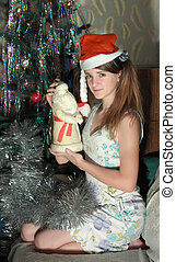 young girl with presents