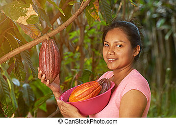Young girl with ready to harvest cacao fruits