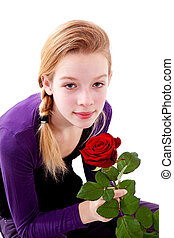 young girl with red rose