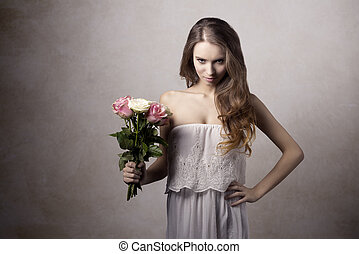 Young girl with roses