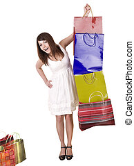 Young girl with shopping bag.