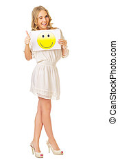 Young girl with smile banner