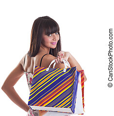 Young girl with striped bags on spine look at you