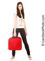 Young girl with suitcase on a white background