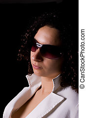 Young girl with sunglasses portrait