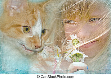 young girl with tabby cat