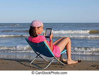 young girl with the modern ebook