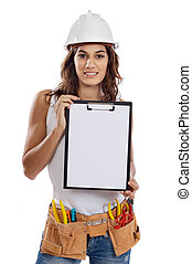 Young Girl with tools for building