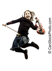 young girl with violin jumping