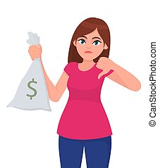 Young girl, woman or female holding/showing cash, money, note bag with dollar icon and gesturing or making thumb down sign. Dislike, bad, negative, modern lifestyle concept in cartoon style.