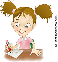 Young girl writing at her desk - Illustration of a cute ...