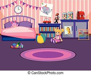 Young girls bedroom interior