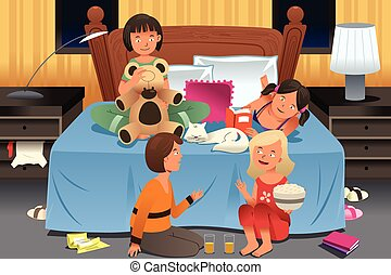 Young Girls Having a Slumber Party - A vector illustration...