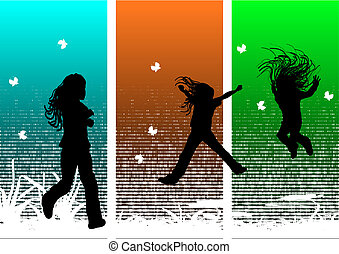 Young girls having fun in nature, vector illustration